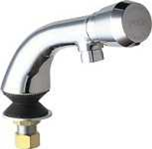 chicago faucets 807 e12 665pab single inlet metering sink faucet 4 1 8 integral spout 2 2 gpm softflo aerator mvp metering push handle