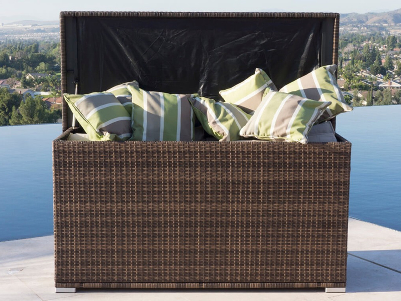 direct wicker patio coffee table with storage