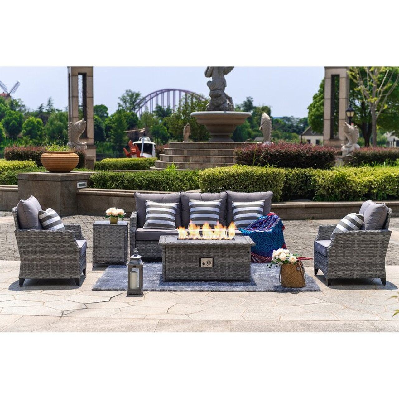 5 piece outdoor wicker patio sofa set with gas fire pit table burner system and cushions by direct wicker