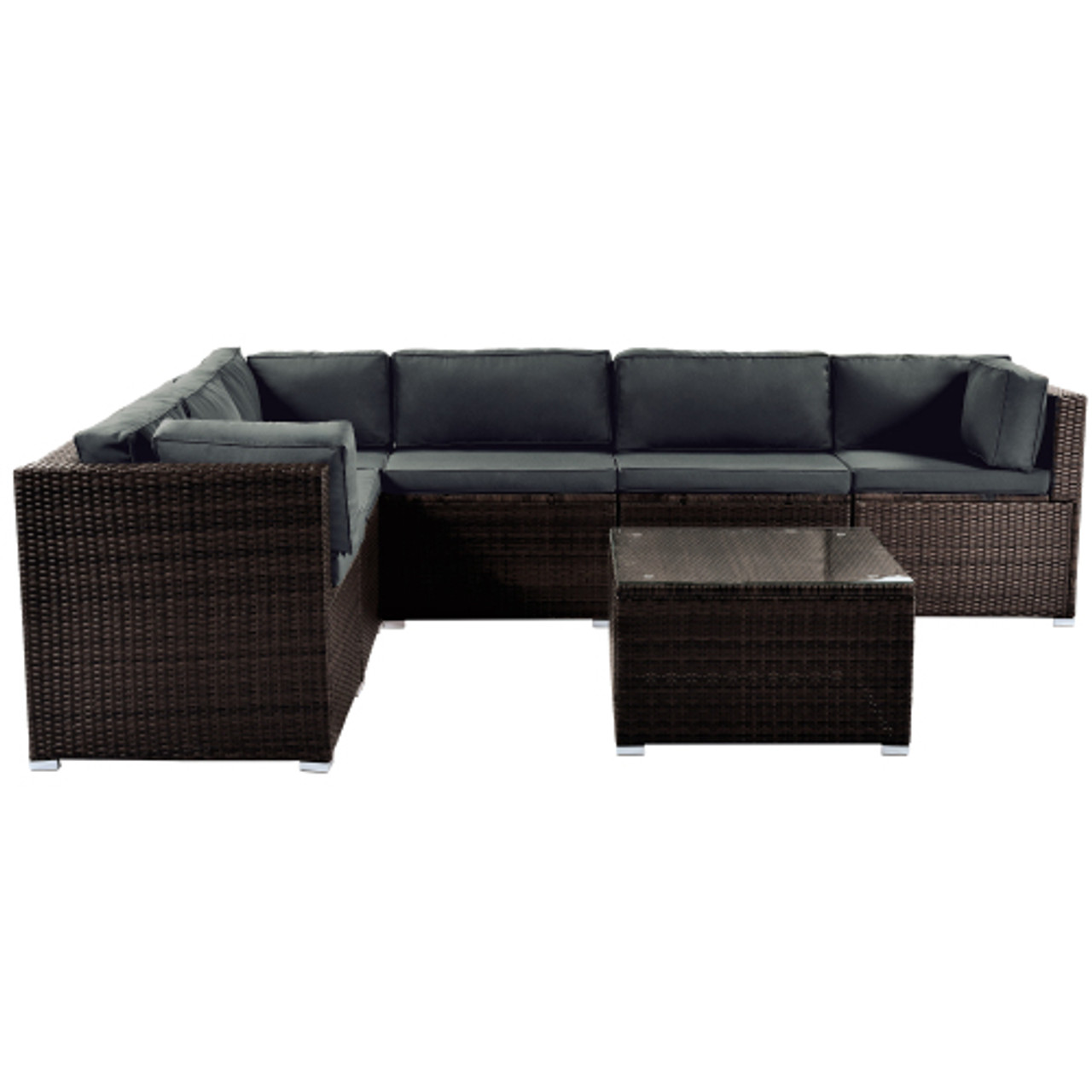 topmax 7 piece patio furniture set outdoor sectional conversation set with soft cushions brown
