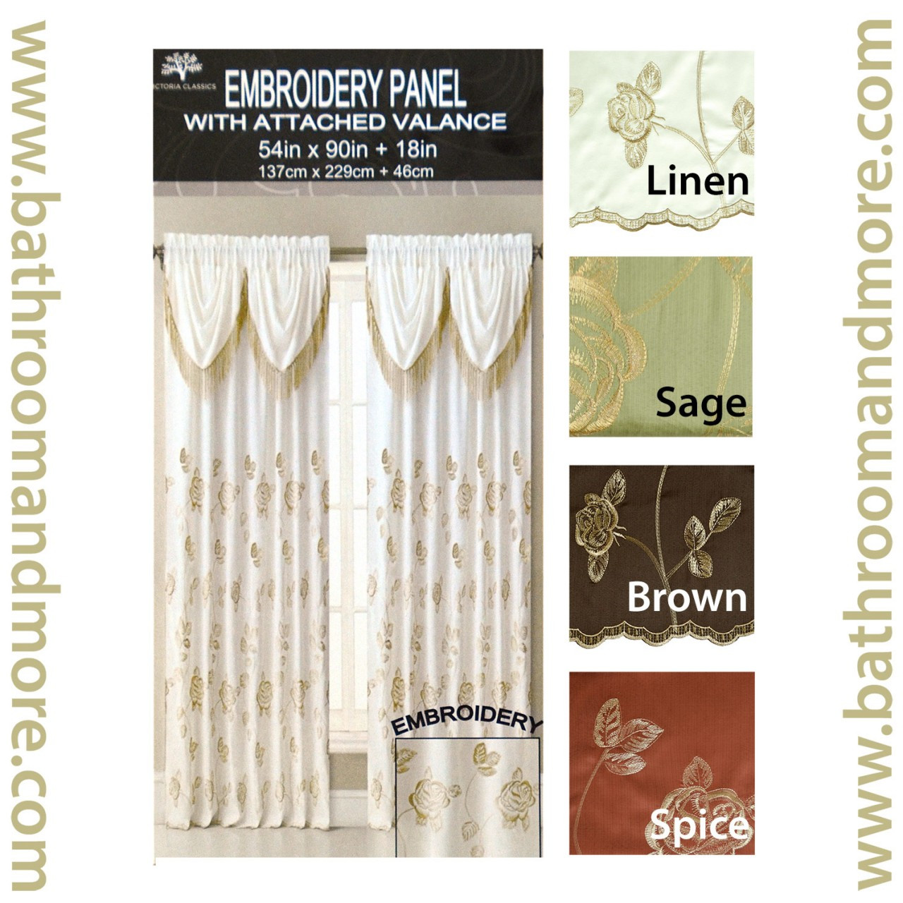 one piece cinnamon spice drapery window curtain panel with gold floral embroidery and attached valance