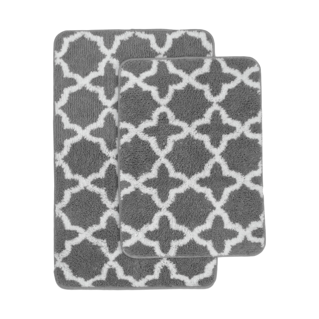charcoal gray and white plush moroccan trellis print bath mat area rug set charcoal gray and white non skid backing
