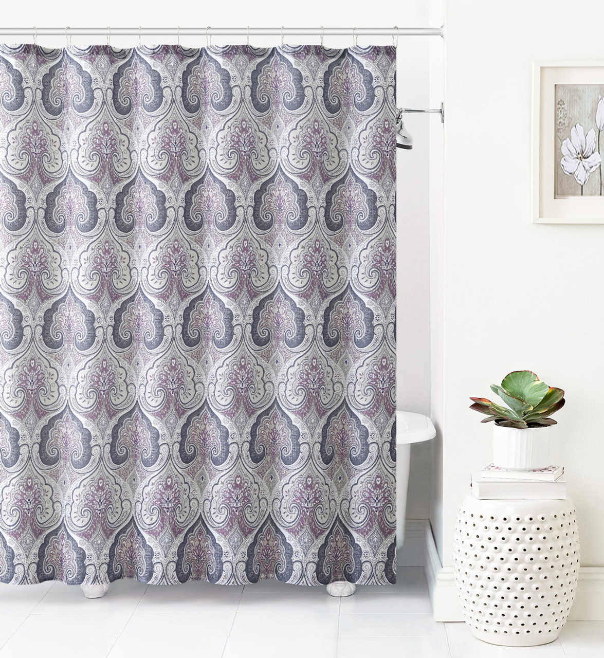 jacquard fabric shower curtain purple gray and taupe ikat moroccan design