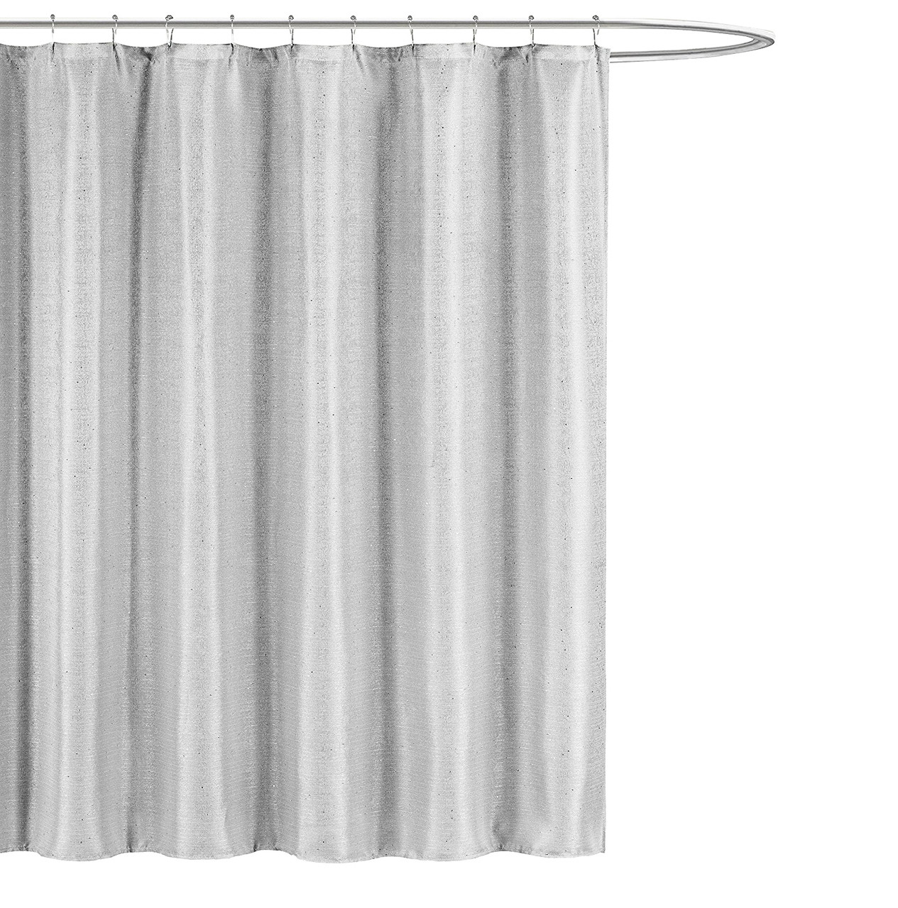 kensie home jane fabric shower curtain subtle pinstripe with sequins accents 70 x 72 inches stone grey