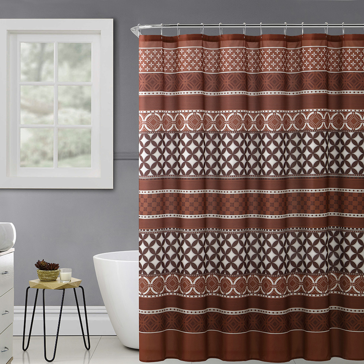 https myinfinitystore com rust chocolate brown and beige fabric shower curtain with printed trendy eclectic geometrical design 72 x 72
