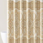 Bohemian Style Fabric Shower Curtain For Bathroom In Gold Taupe Gray White 72in X72in My Infinity Store