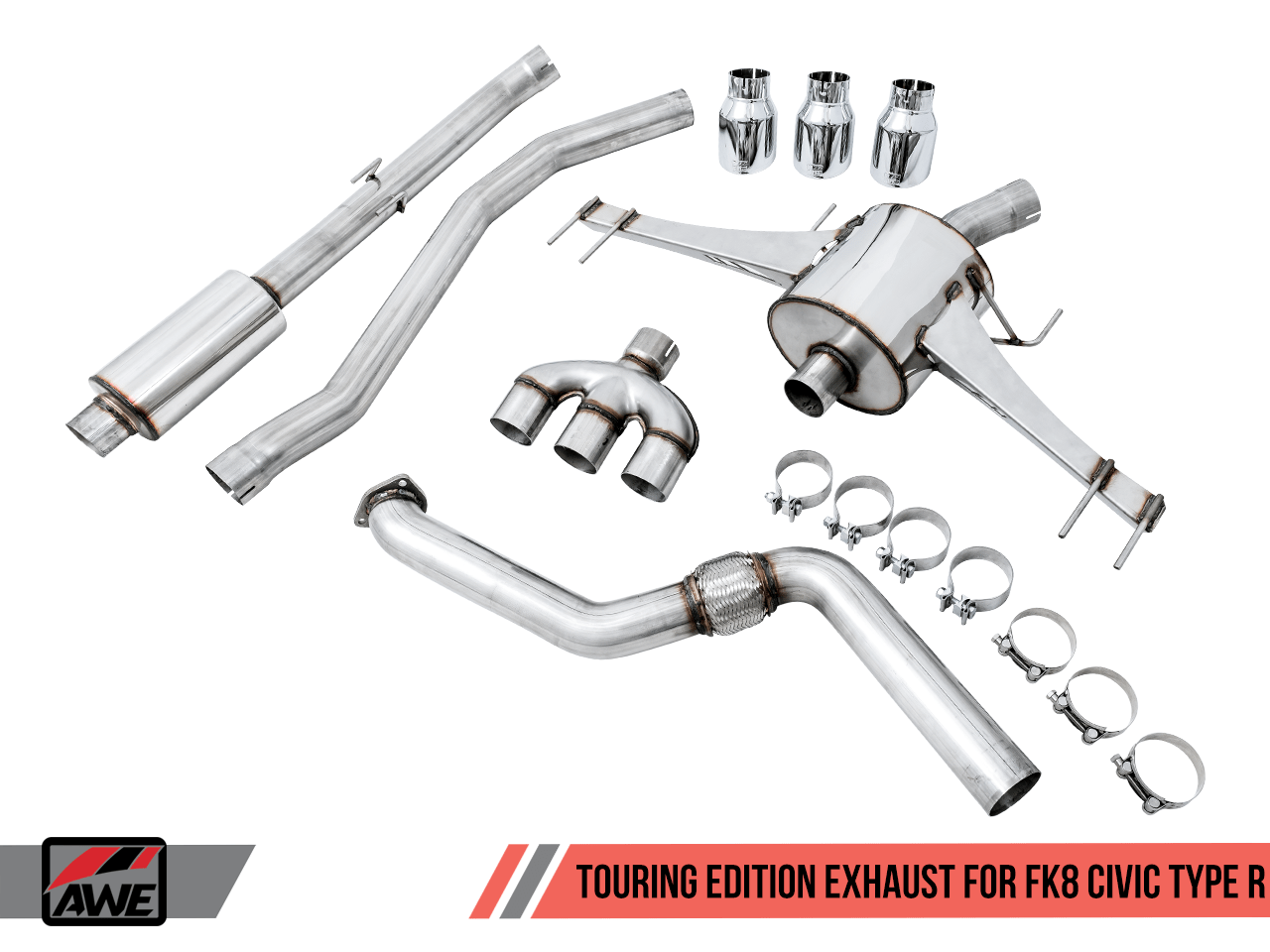 awe touring edition exhaust for fk8 civic type r includes front pipe