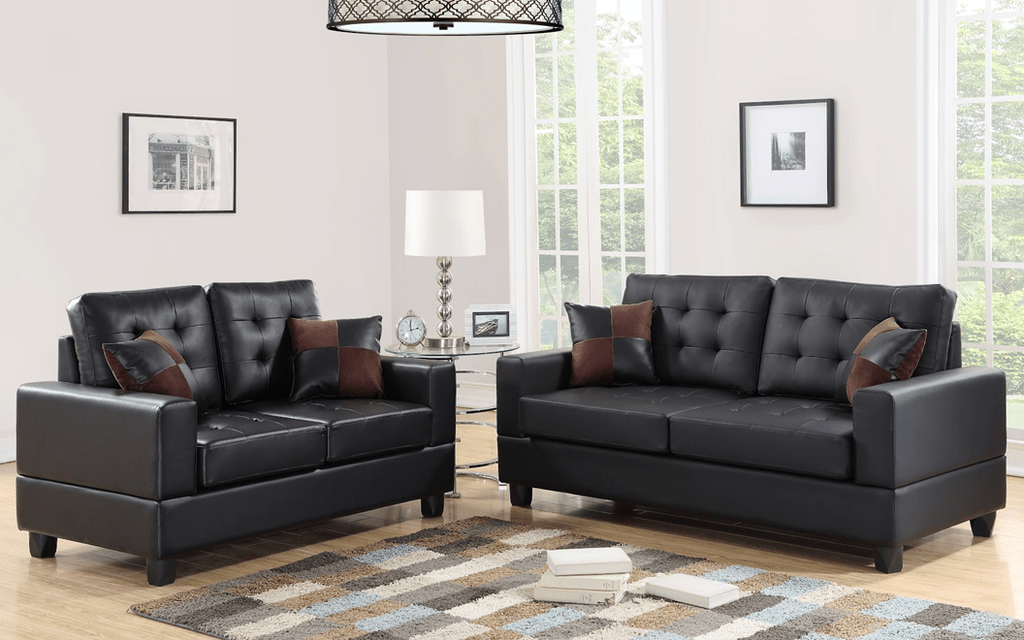 2 Pcs Sofa Set In Black Color With Accent Pillows Km Home Furniture