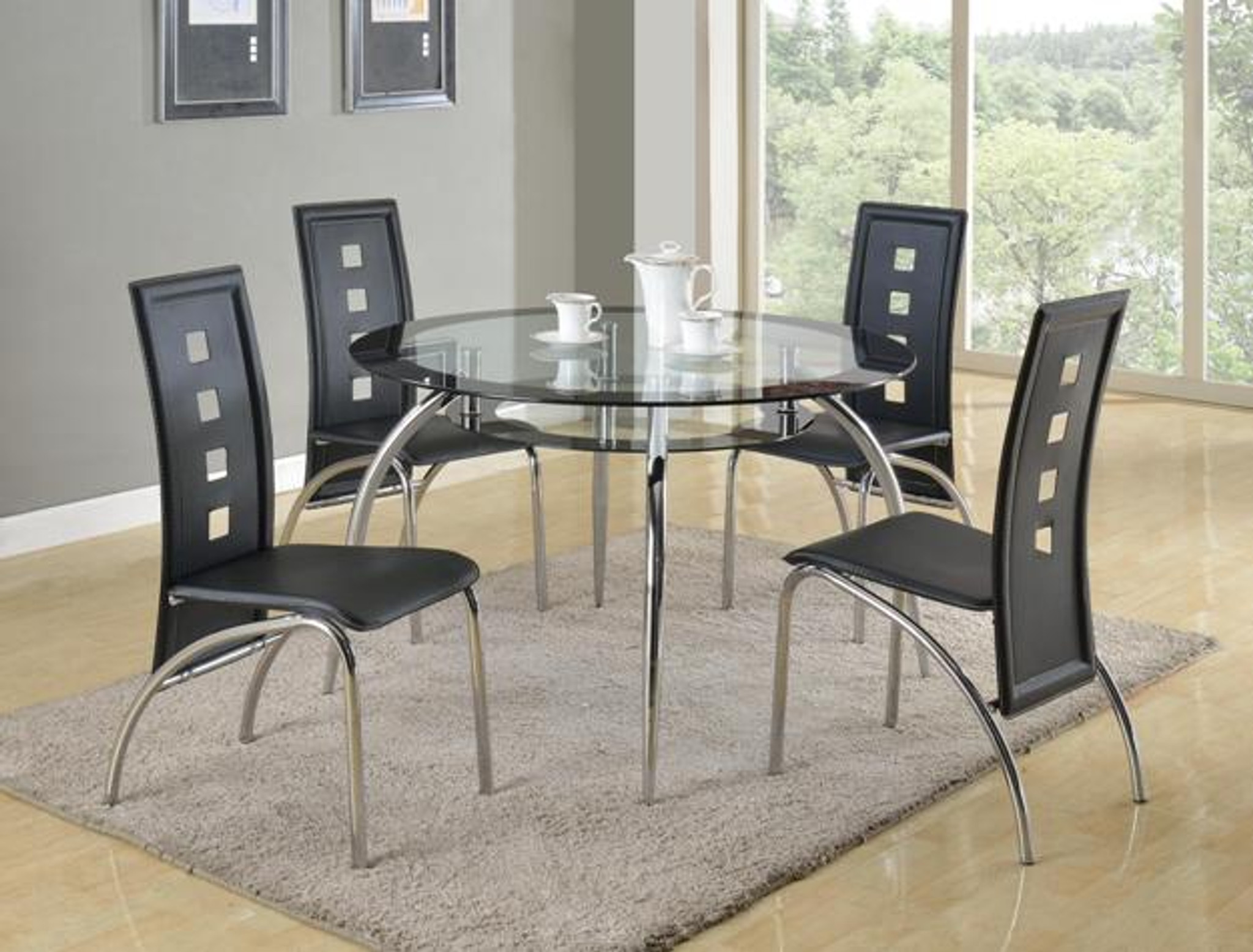 1270 Crown Mark Mila Round Glass Dining Table Top 5 Piece Set