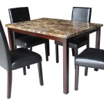 Antonella Cherry Brown 5 Pcs Faux Marble Top Dining Table Set Km Home Furniture