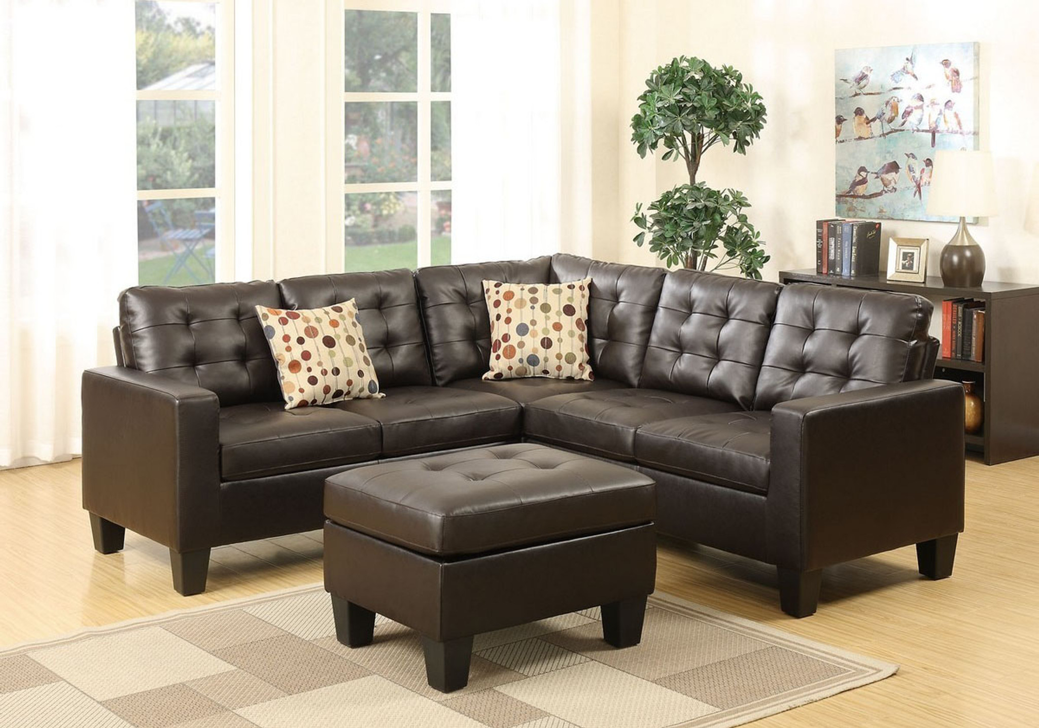 4 pcs modular sectional sofa set w ottoman 2 accent pillows upholstered in espresso leather