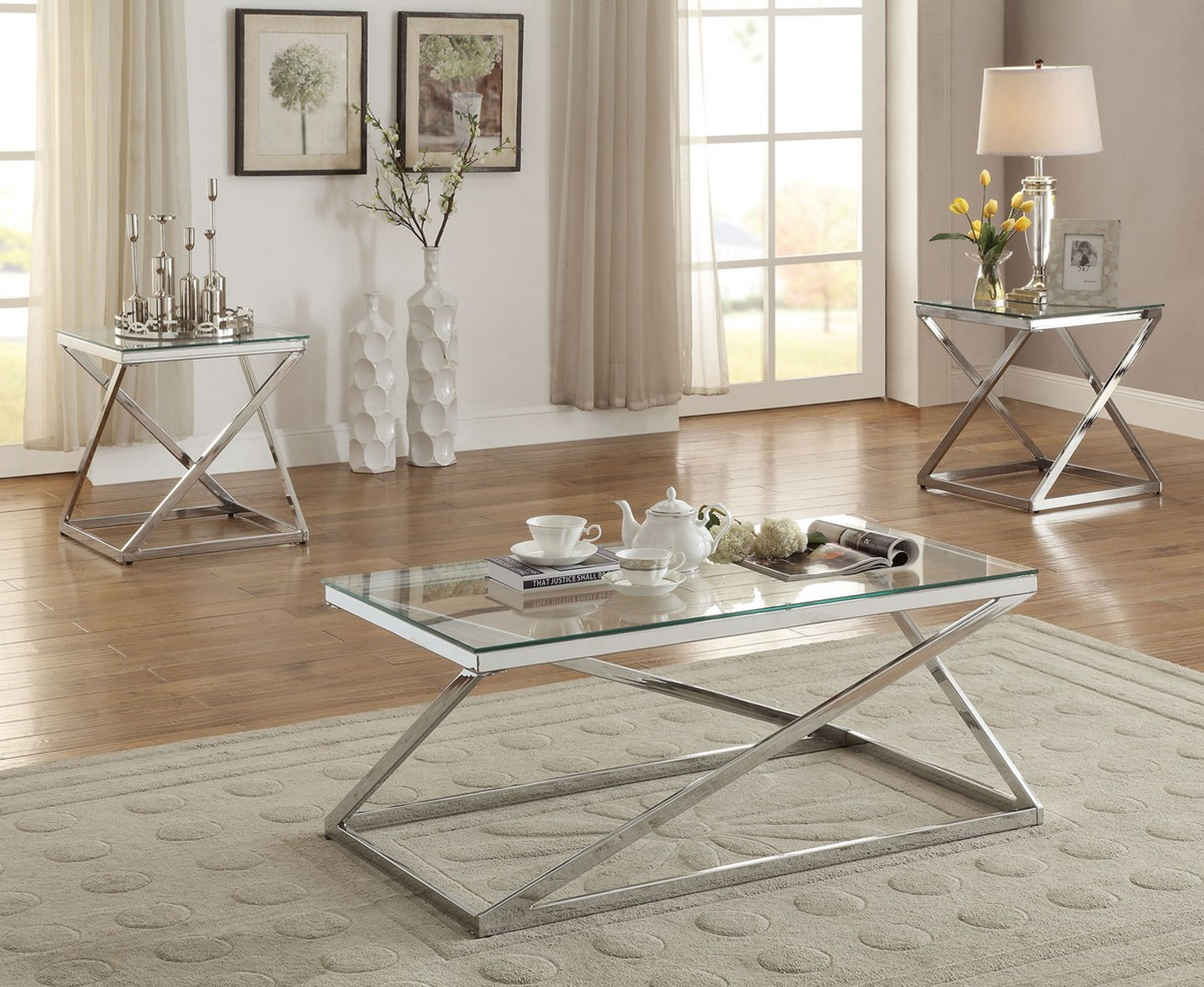 3pc tempered glass top coffee table end table set in silver chrome finish