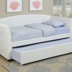 Kassa Mall Home Furniture F9259 Twin Bed Daybed W Trundle Upholstered In White Leather