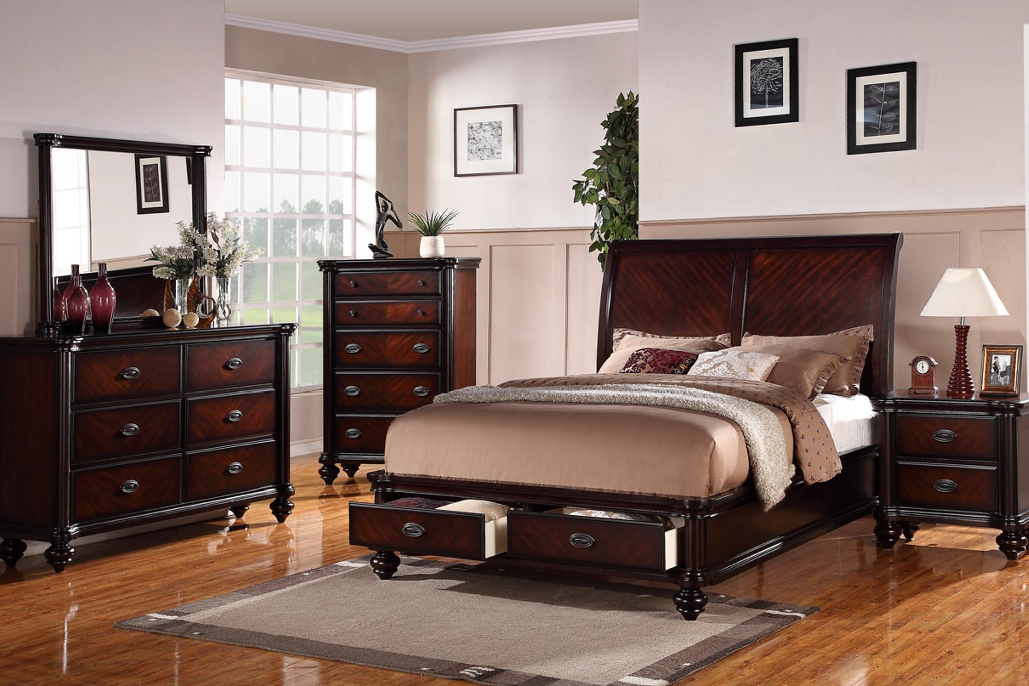 margaret bedroom bed frame dark brown finish with storage