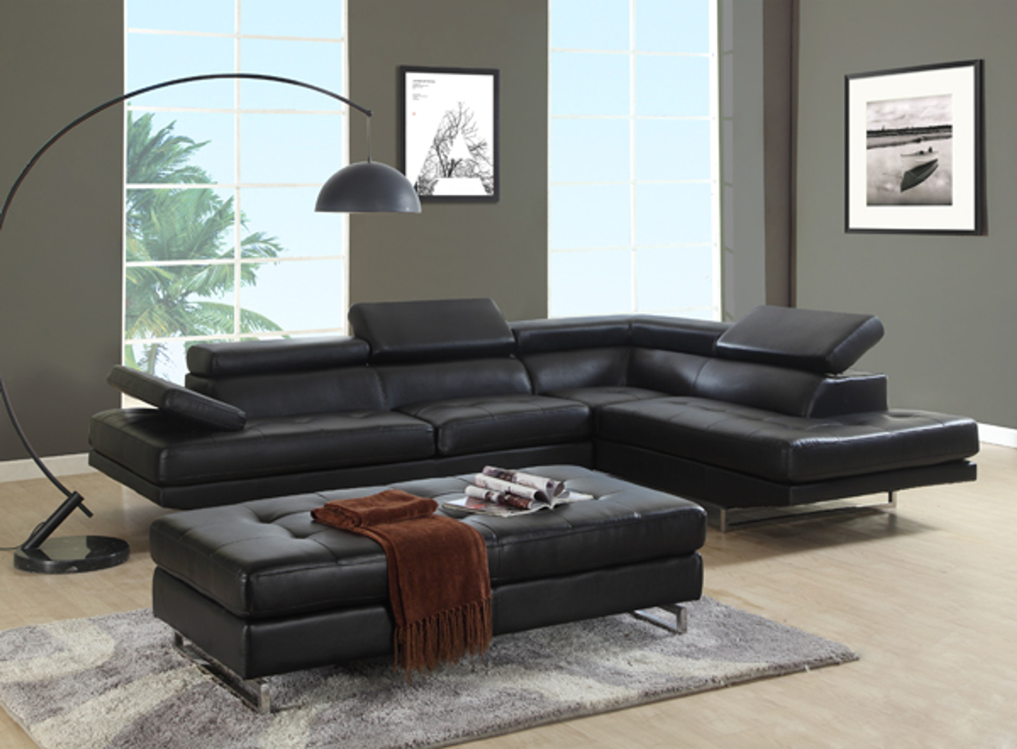 modern sectional sofa chaise in black leather