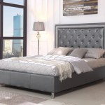 Miccaela Grey Leather Tufted Platform Bed No Boxspring Required Km Home Furniture