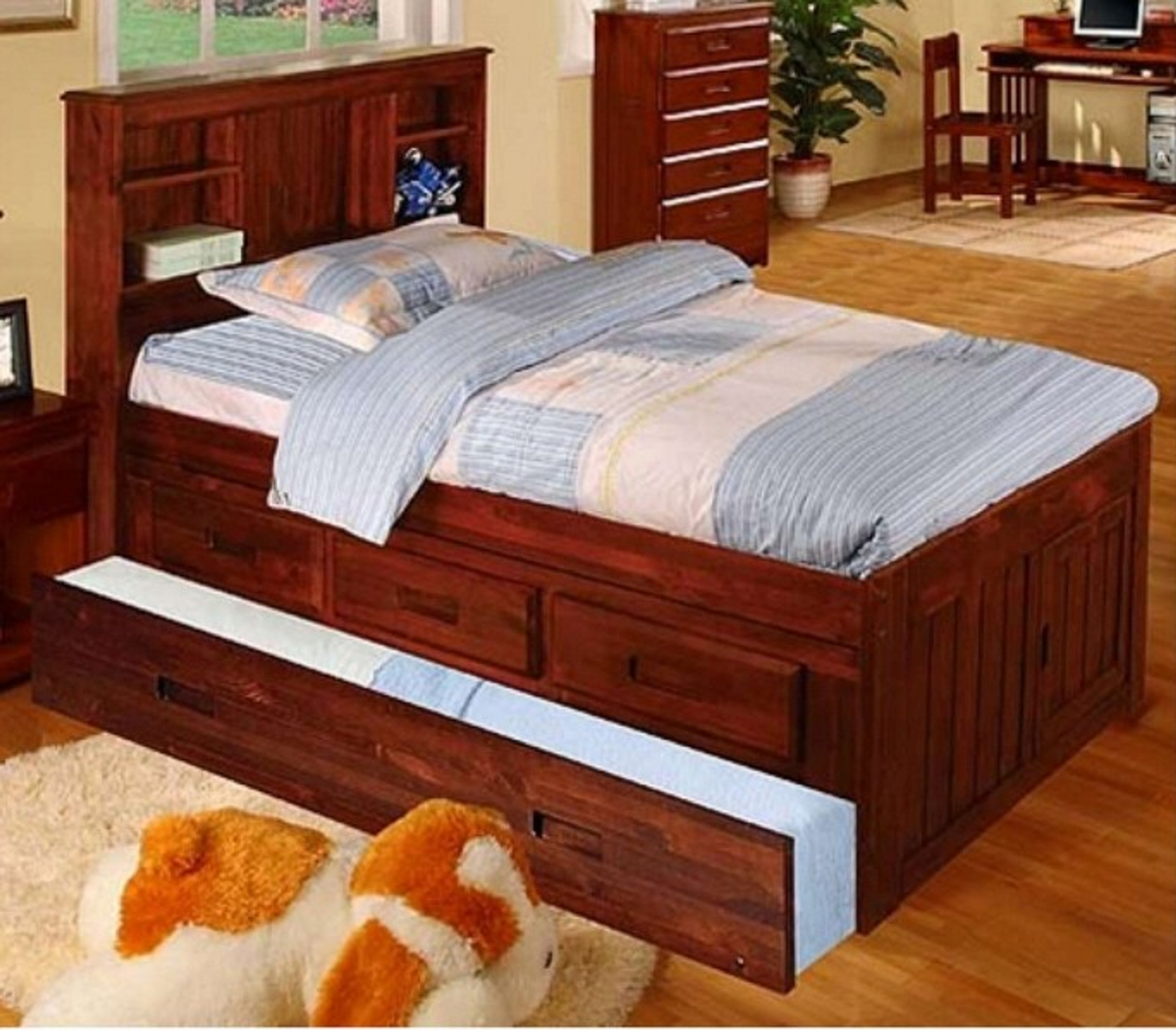 Twin Bookcase Headboard Captain Bed W Trundle 3 Drawers