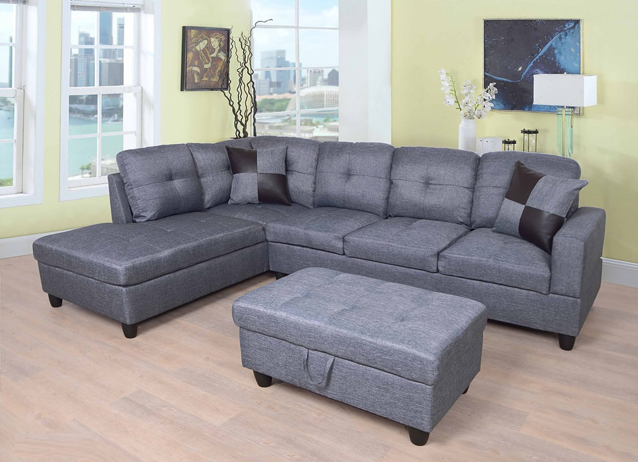 blue gray color 3pcs fabric sectional sofa chaise and storage ottoman