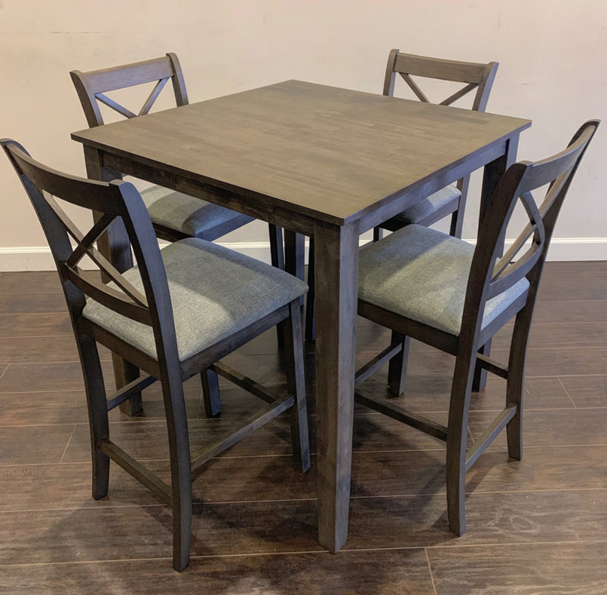 5pc Tahoe Counter Height Dining Table Set In Grey By Happy Homes