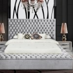 Prada Modern Upholstery Gray Platform Velvet Bed With Storage Km Home Furniture