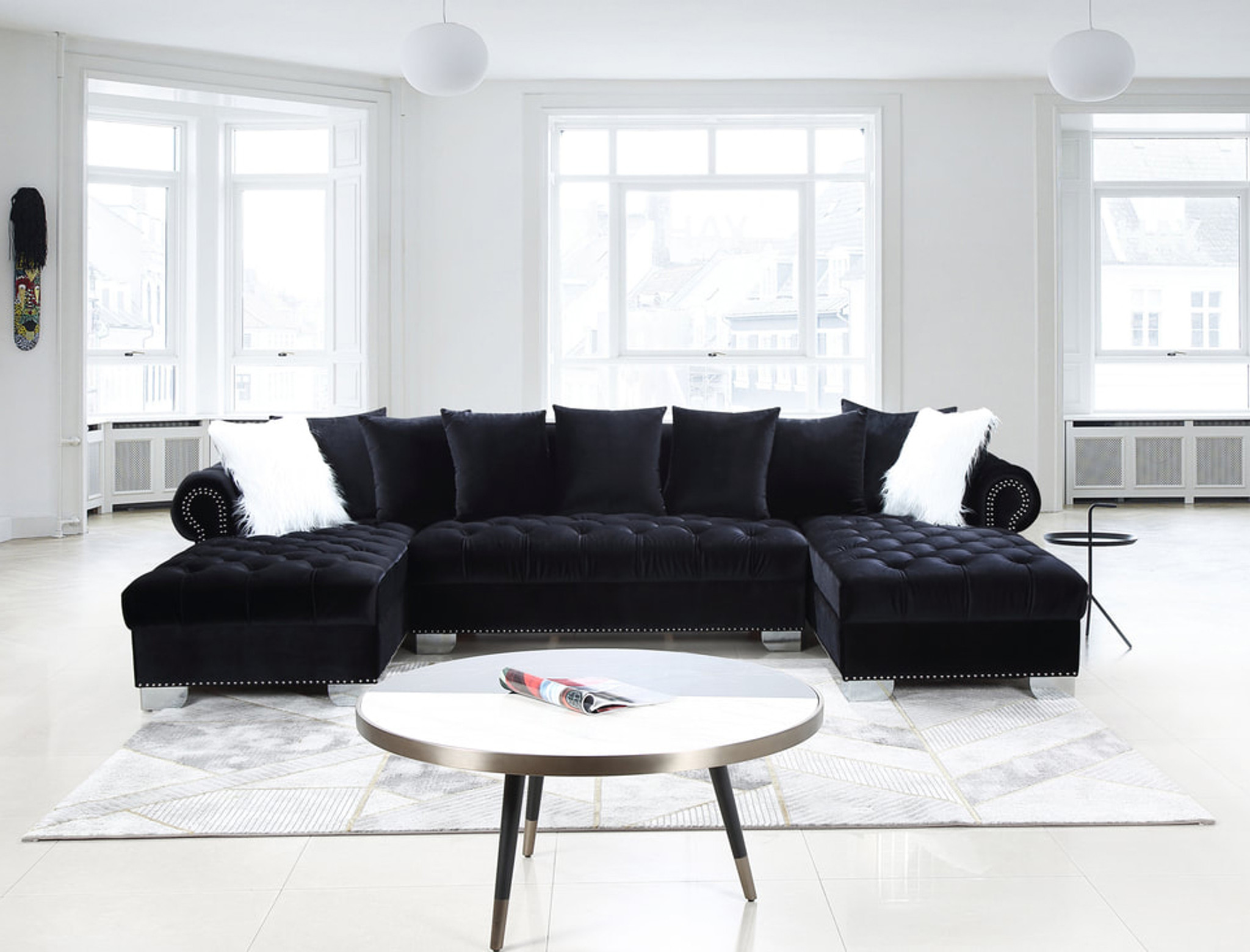 3 Pcs Kim Sectional Sofa And Loveseat In Black Color With Accent Pillows Happy Home Industries Houston Texas