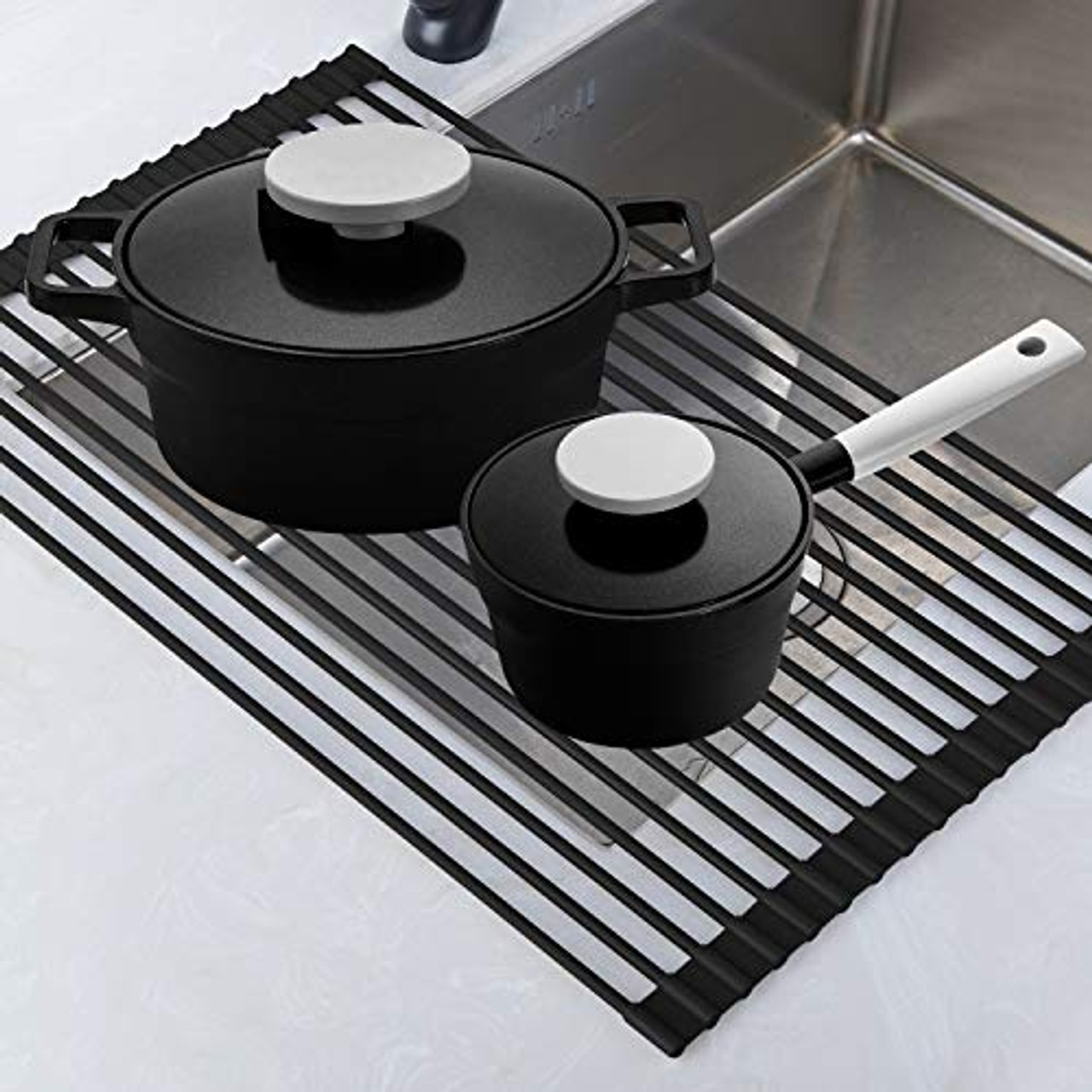 roll up rack collapsible dish drying rack in the sink drying mat multipurpose dish drainer rv dish drying rack fruits and vegetable rinser durable