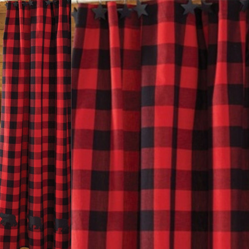 Buffalo Check Bear Applique Shower Curtain Size 72 X 72 Jakes Country Trading Post