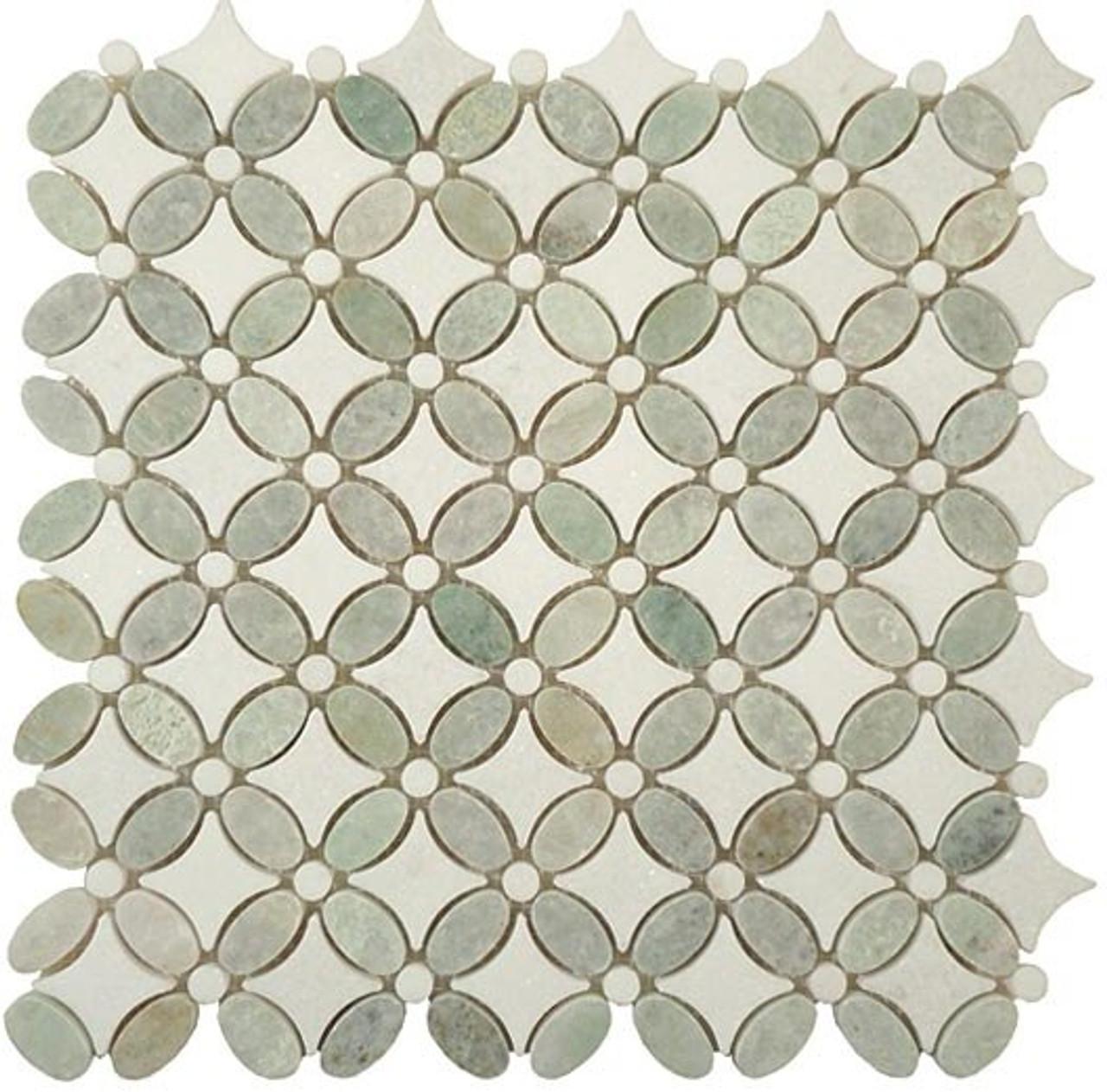 flower series fs 74 marble mosaic tile
