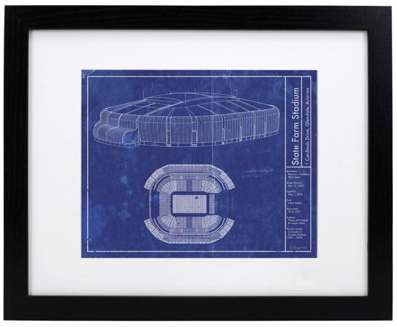 state farm stadium arizona cardinals blueprint poster