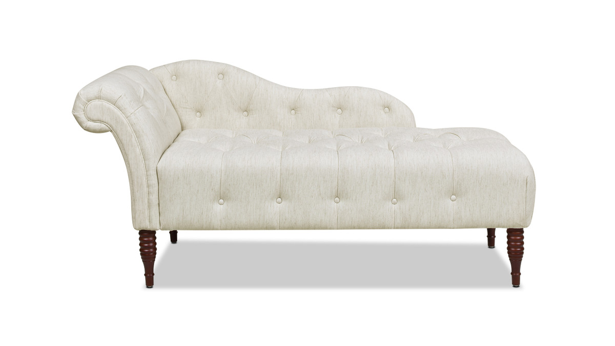 samuel tufted chaise lounge right arm facing natural white