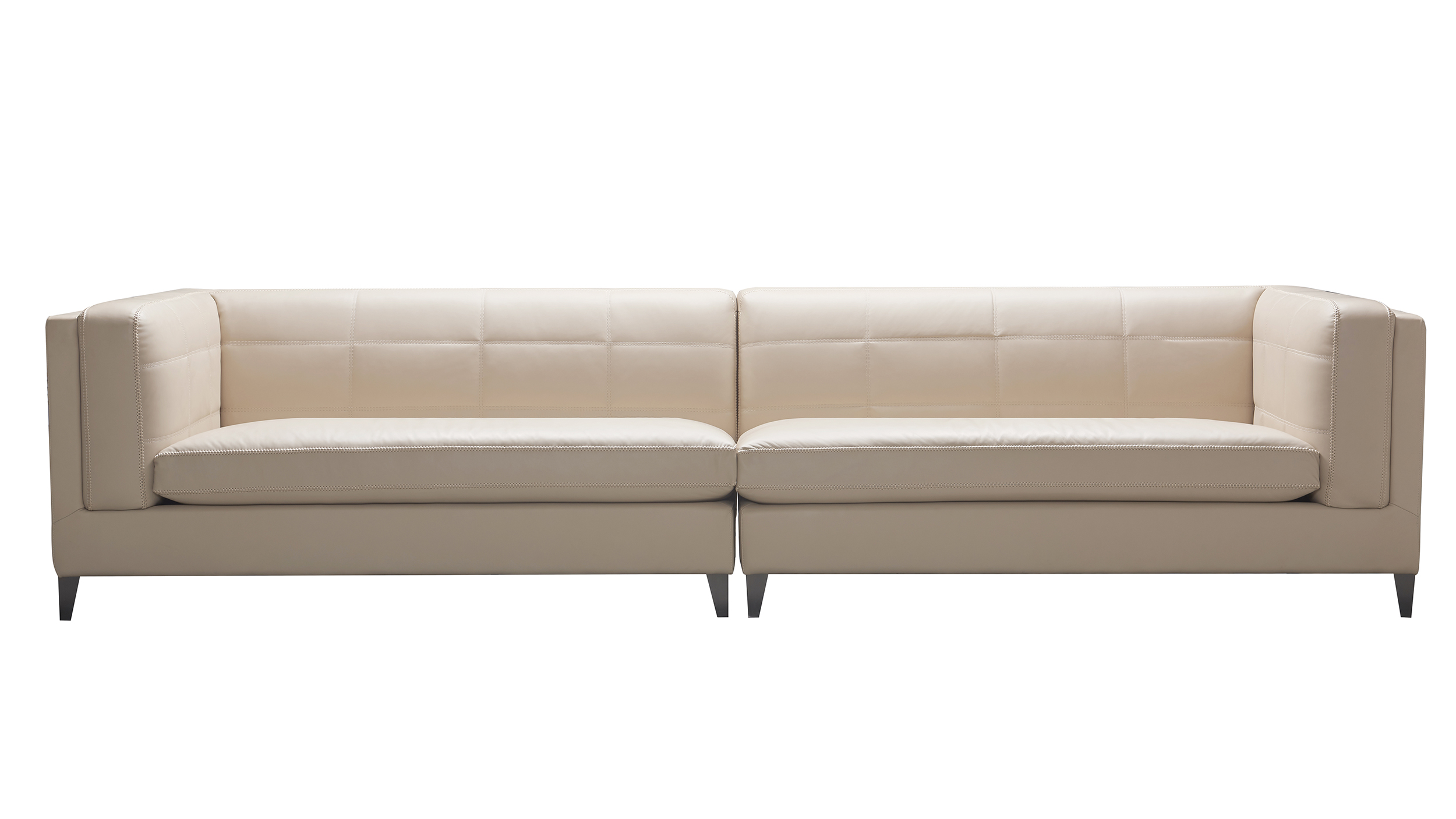 esquire 119 top grain leather 4 seater sectional sofa fawn beige
