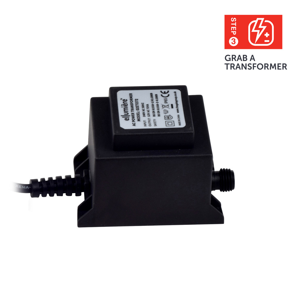 ellumiere outdoor lighting transformer 72w ip65 rated with 1 5m cable