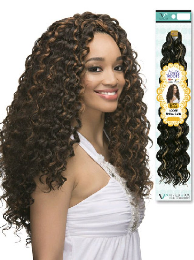 """latch hook loose spiral curl 19"""" synthetic weave extensions"""
