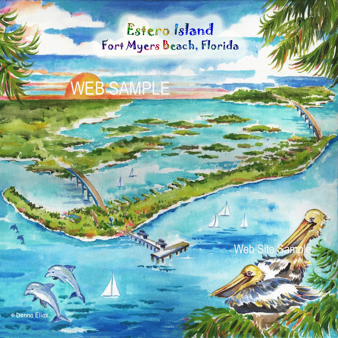 estero island fort myers beach tile trivet