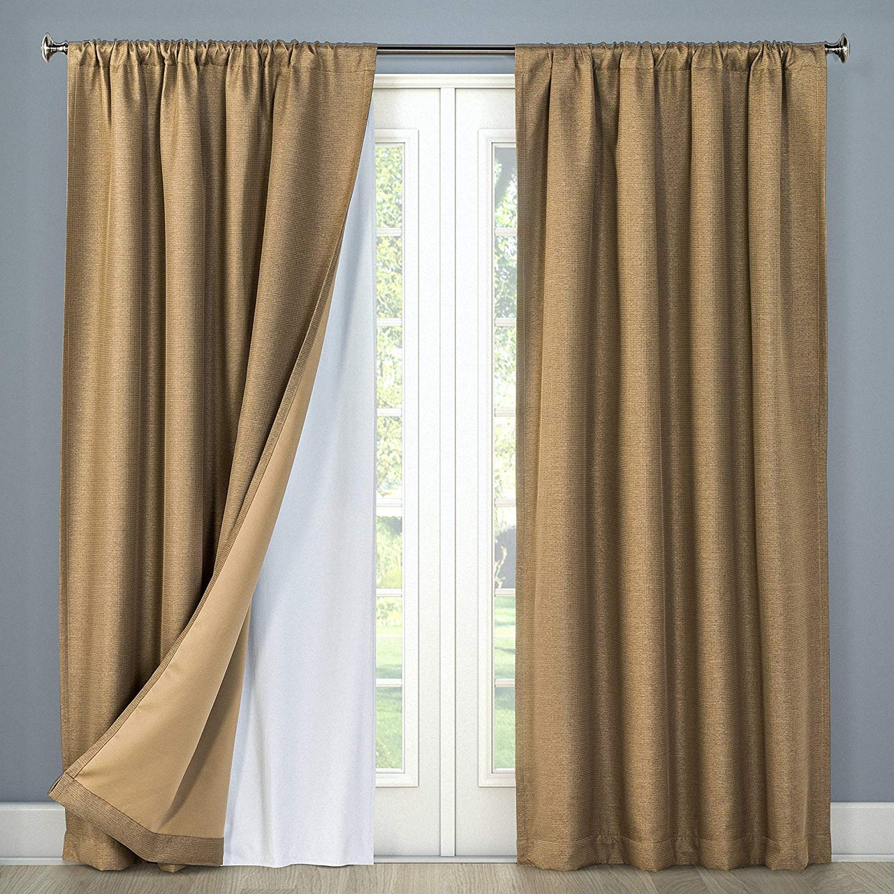 white thermal 100 blackout rod pocket curtain liner