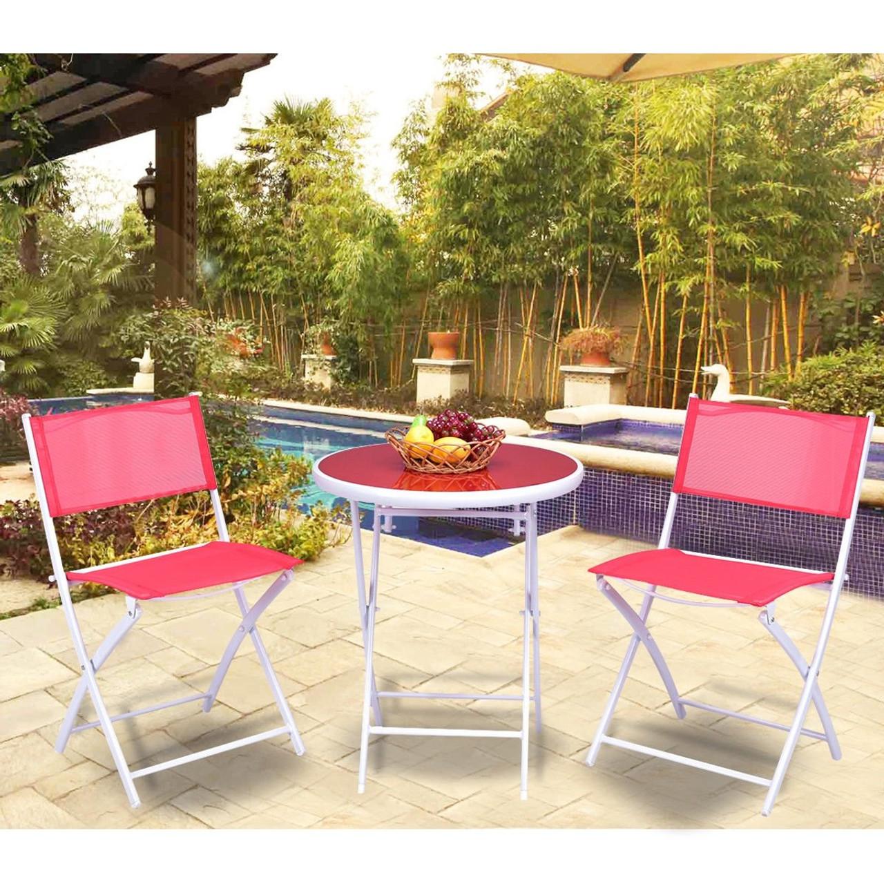 3 pcs folding bistro table chairs set garden backyard patio furniture black new red op3355re