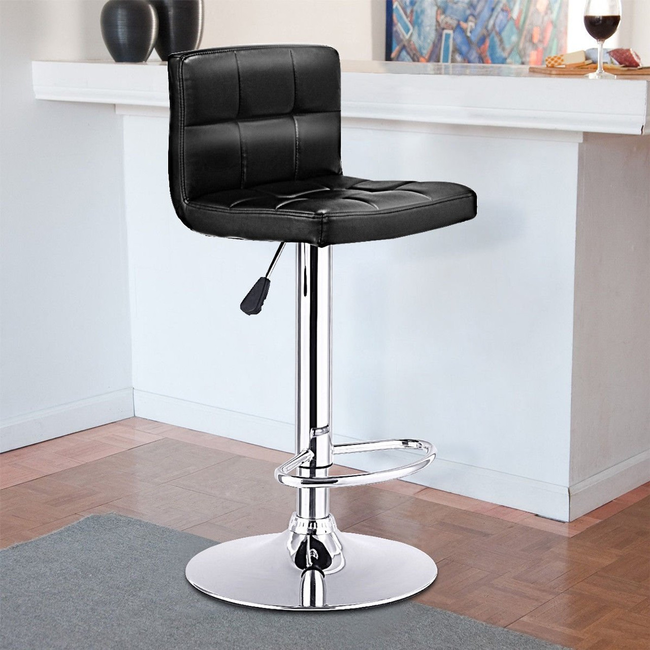 Cw Hw65633bk 1 Pc Bar Stool Swivel Adjustable Pu Leather Barstools Bistro Pub Chair Black