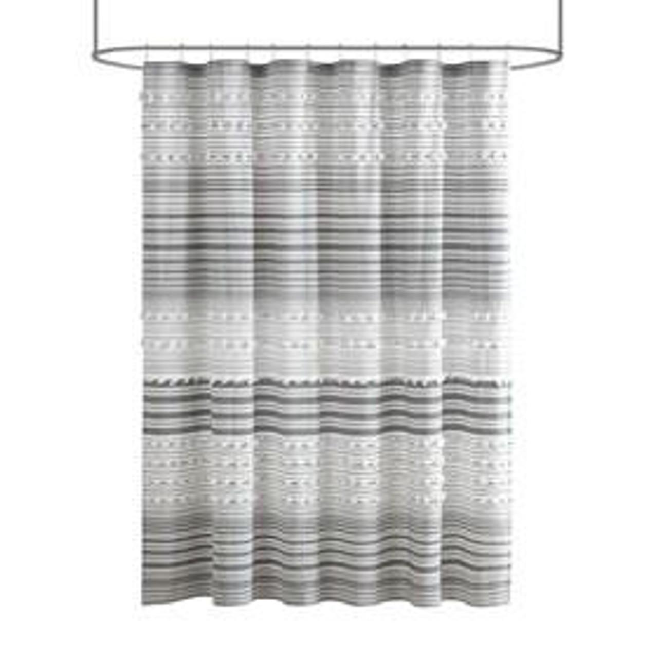 urban habitat calum 100 cottonn yarn dye shower curtain with pompoms uh70 2308 by olliix