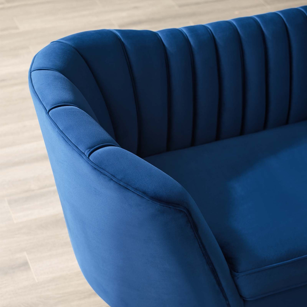 Opportunity Vertical Channel Tufted Curved Performance Velvet Sofa Eei 3453 Nav By Modway Furniture