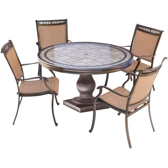 5pc Dining Set 4 Sling Dining Chairs 51 Round Tile Top Dining Table Fntdn5pctn The Fontana 5 Piece Dining Set Beautifully Transforms Any Backyard Into An Elegant Outdoor Dining Area With Its Warm