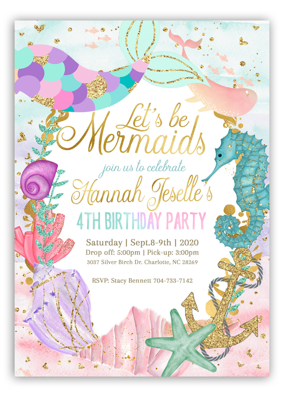 mermaid birthday invitation girl mermaid invite 2
