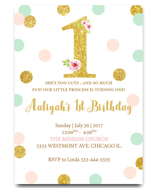 Pink And Gold Party Invitations Girl First Birthday Invitations One Shaped Baby Girl First Birthday Invitation Invitations Stationery Fcteutonia05 De