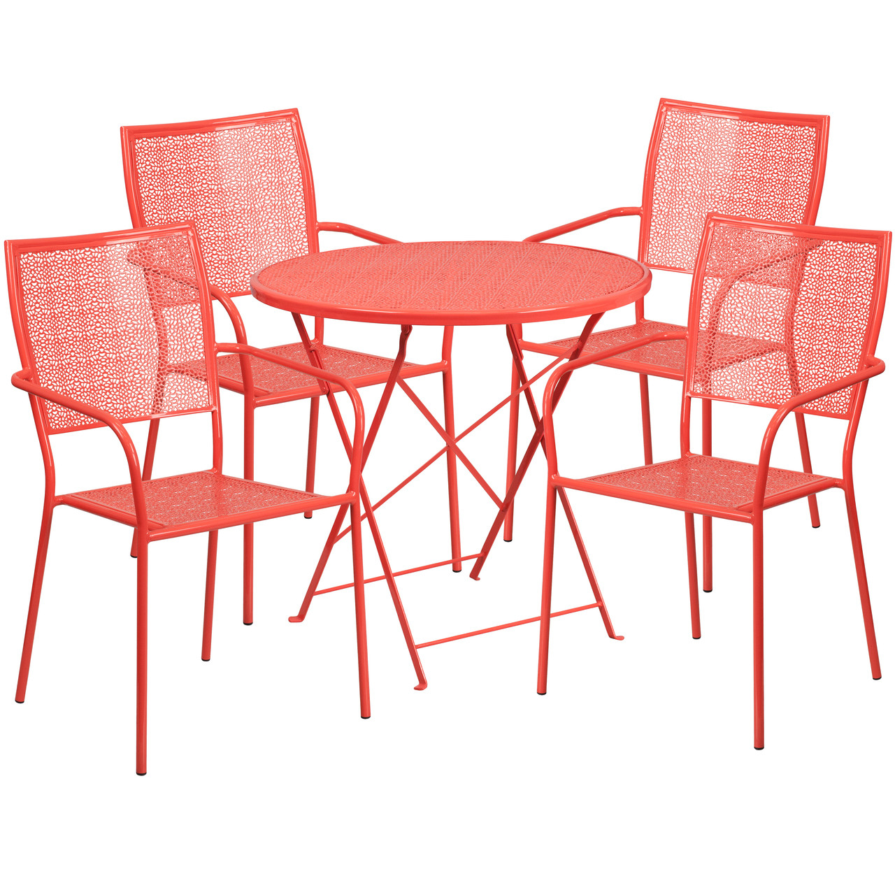 flash furniture 30 round coral indoor outdoor steel folding patio table set with 4 square back chairs