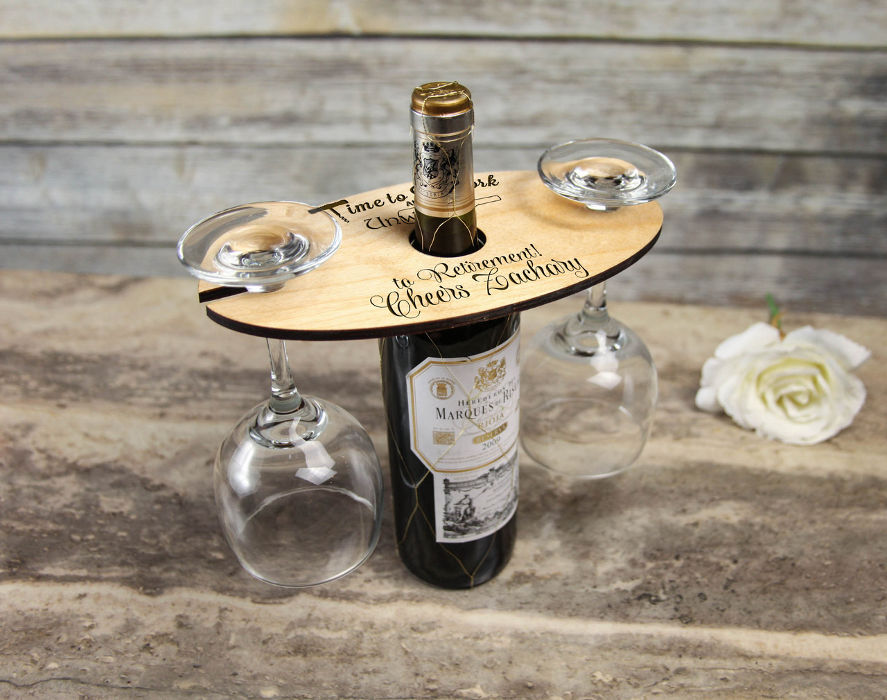 personalized wine caddy glass holder happy retirement