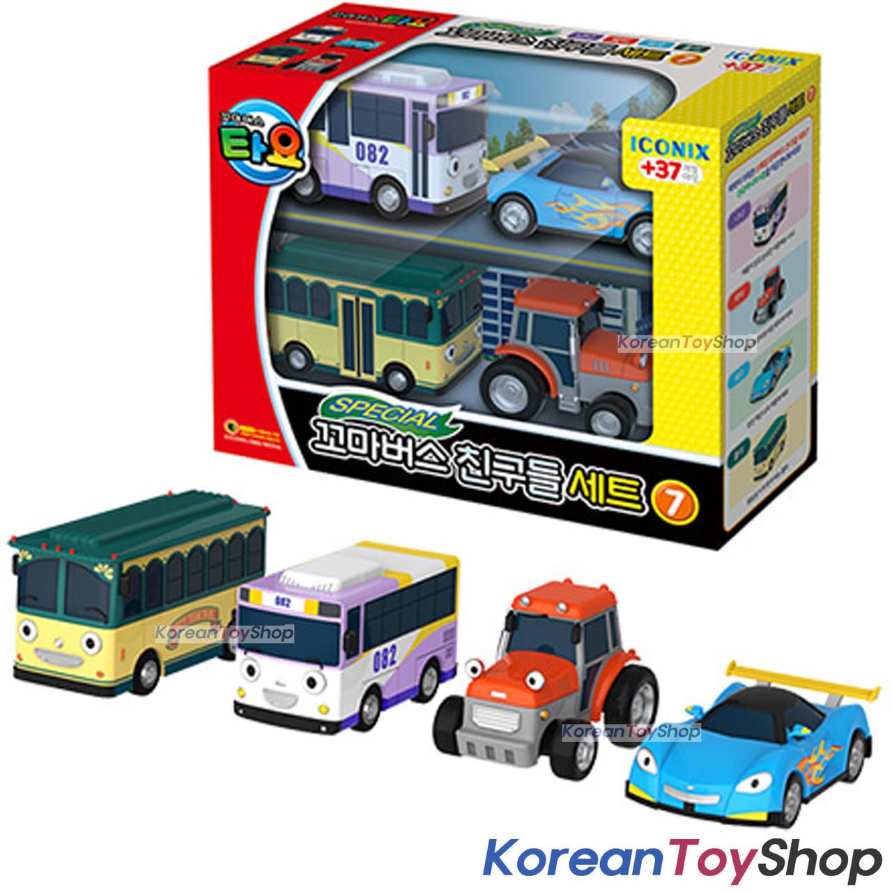 00171 Tayo Little Bus Friends Special V 7 Mini Car 4 Pcs Toy Set Nana Leo Rolly Ractor Koreantoyshop