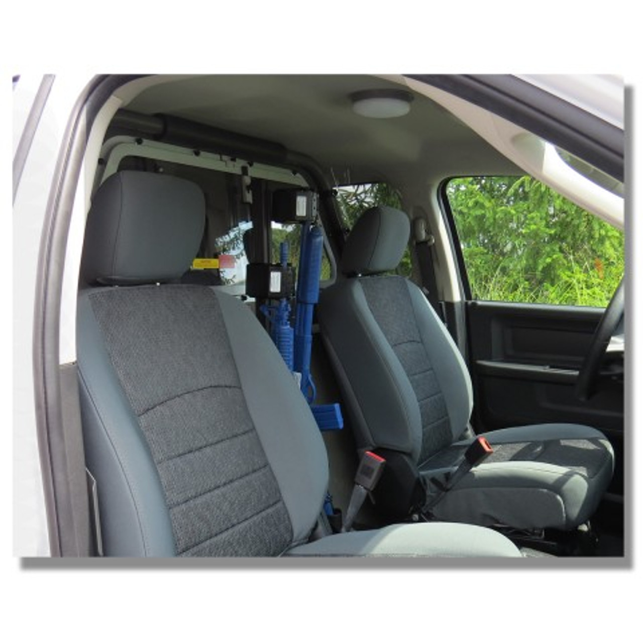 progard police vehicle gun rack with universal tri lock vertical partition cage