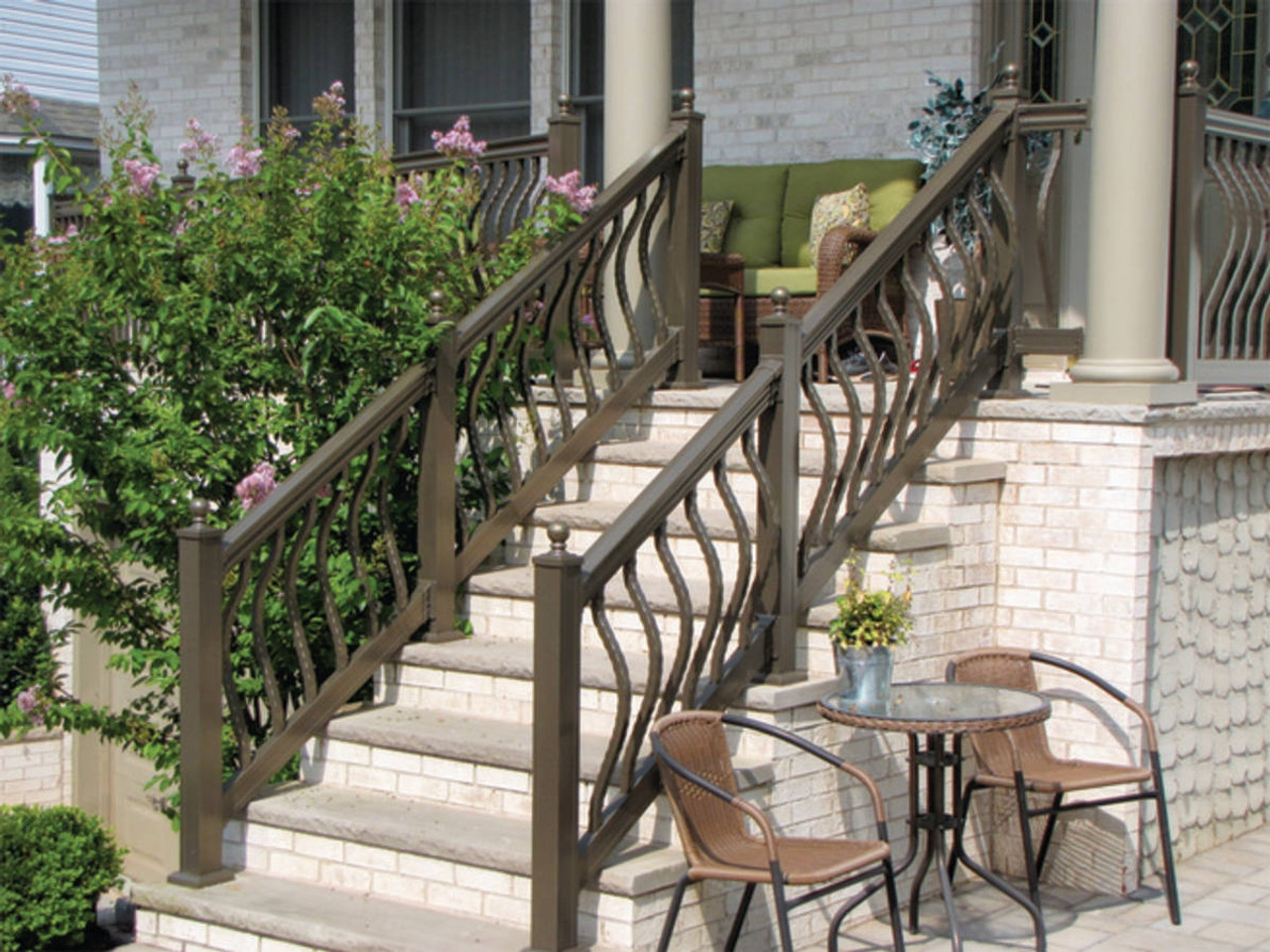 Key Link Lancaster Heavy Duty Aluminum Stair Railing Sections | Aluminum Handrails For Outdoor Steps | Wrought Iron Railings | Baluster | Staircase | Freedom | Powder Coated Aluminum