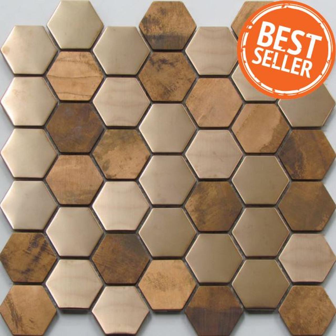 0970 hexagon copper mosaic tiles
