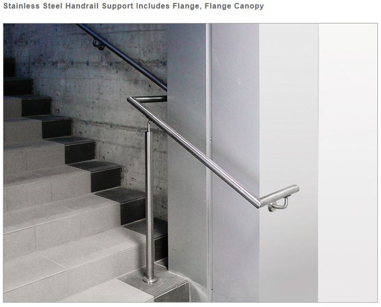 E022 S Stainless Steel Handrail Support Includes Fl*Ng* Fl*Ng* Canopy | Stainless Steel Hand Railing | Balustrade | Modern | Fabrication | Welded Steel | Stair Outdoors