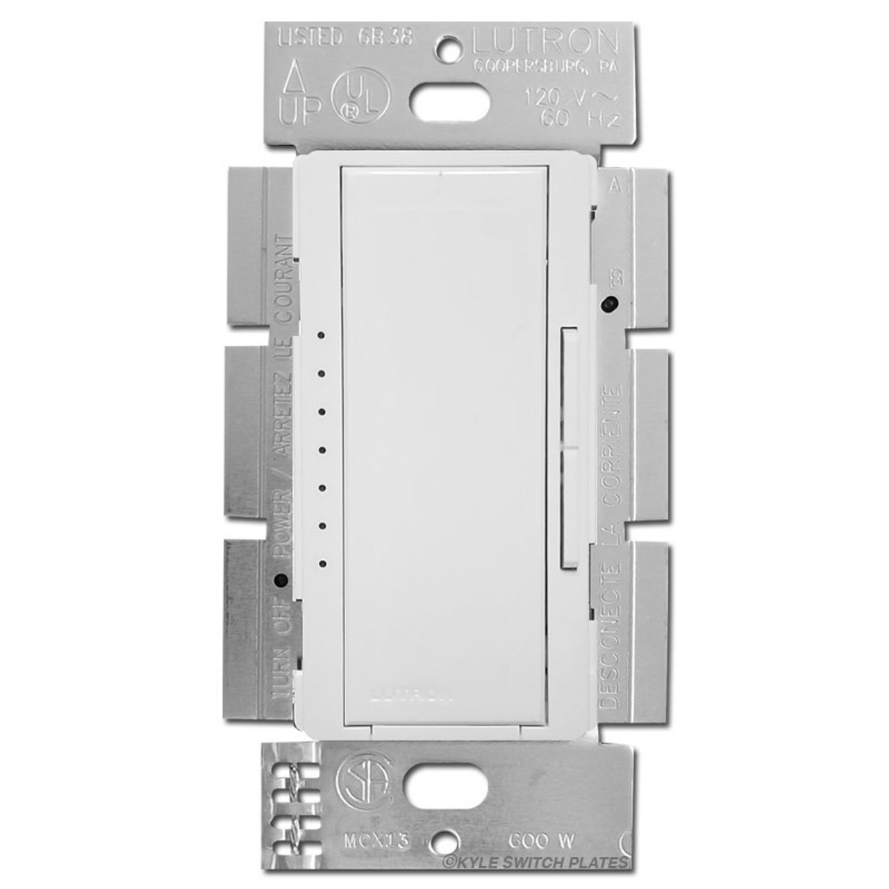white lutron smart dimmer switch indicator lights